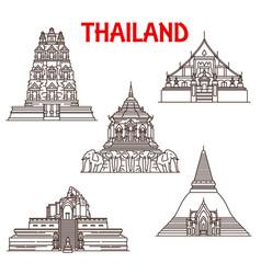 Thailand chiang mai ayutthaya temples line icons vector