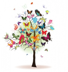 tree with butterfly vector image