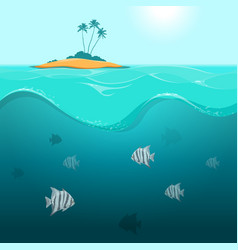 Underwater landscape with tropical fish vector