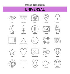 universal line icon set - 25 dashed outline style vector image