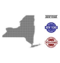 welcome composition of halftone map of new york vector image