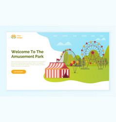 welcome to amusement park online website with text vector image