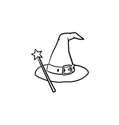 Wizard hat and magic wand hand drawn sketch icon vector