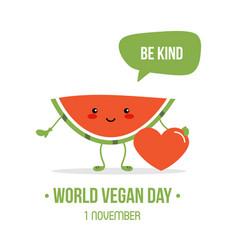 World vegan day cartoon vector
