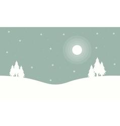 At night tree winter christmas landscape vector