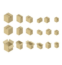 Cardboard box isometrics set Different variants of vector image vector image
