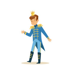 cute little boy wearing a blue prince costume vector image