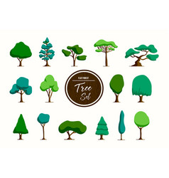 green tree set in hand drawn style vector image vector image