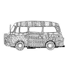 Hand drawn doodle outline surf bus volkswagen vector