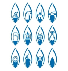 Icons gas industry vector