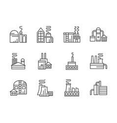 Industrial facilities black line icons set vector image