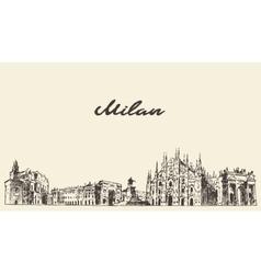 Milan skyline Italy hand drawn sketch vector image vector image