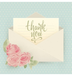 Thank you Vintage envelope with roses vector image