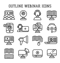 Webinar outline icons vector image