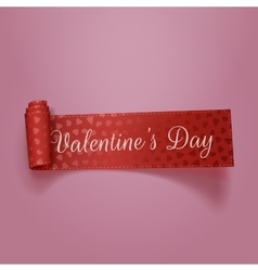 Beautiful valentines day red textile ribbon vector
