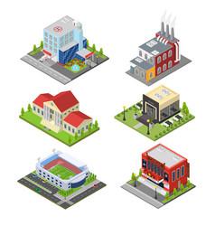 city building set isometric view vector image