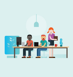 co-working people working on their laptop together vector image