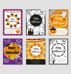 halloween set of trendy postershappy halloween vector image