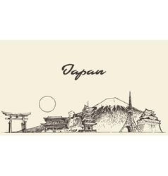 Japan skyline drawn sketch vector image vector image