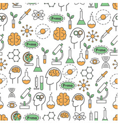 science flat line art seamless pattern vector image vector image