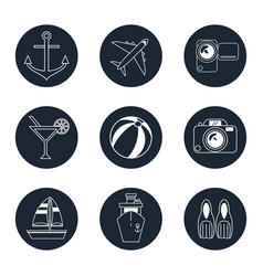 monochrome icons travel set in round frames vector image