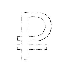 ruble sign black dotted icon on white vector image