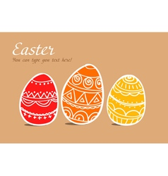 Three easter painted eggs on brown vector image