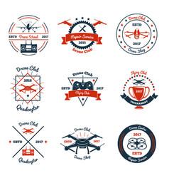 Drone color emblems vector