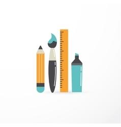 education creativity pen pencil brush vector image