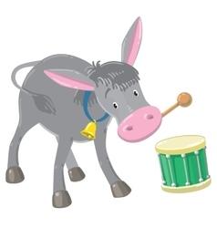 Funny gray drumming donkey vector image vector image