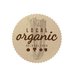 local organic natural food round paper emblem vector image vector image