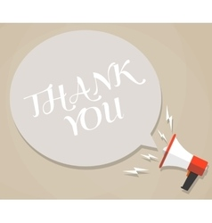 megaphone with white bubble thank you text vector image