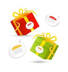 Red Green Present Box Gift Box Set vector image vector image