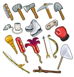 Set of metallurgical and textile industries item vector image vector image