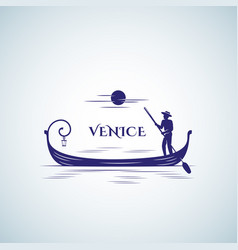 venice boat abstract sign emblem or logo vector image