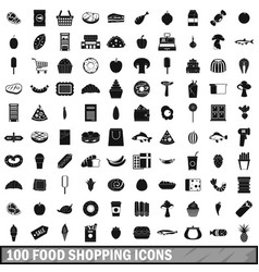 100 food shopping icons set simple style vector