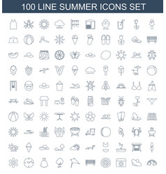 100 summer icons vector image
