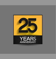 25 years anniversary in square yellow and black vector