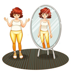 A fat girl and her skinny reflection vector image
