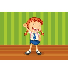 A girl with schoolbag vector