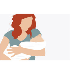 A mother holding her newborn in arms vector