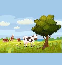 a rural cute landscape a beautiful view a farm vector image