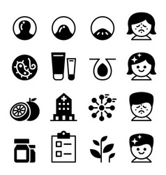Acne icon set collection vector