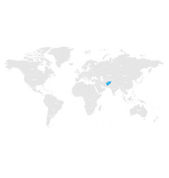 afghanistan marked by blue in grey world political vector image