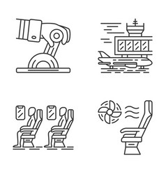 aviation services linear icons set vector image