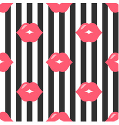 background with red lips and black stripes vector image
