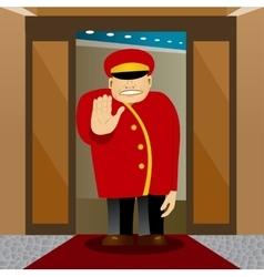 Bellhop showing stop gesture vector