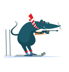 biathlon competitor rat or mouse vector image