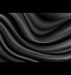 Black fabric satin wave background texture vector