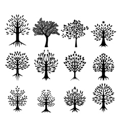 Black tree silhouette collection vector